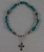 Turquoise Chips with Oval Turquoise Beads Capped in Silver and Silver Spacers
