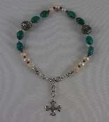 Pearls with Smooth Turquoise Nugget and Inlaid Turquoise and Coral Beads