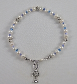 Freshwater Pearls with Blue Crystal and Blue Glass Bead Spacers