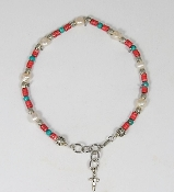 Turquoise and Coral Heche with Freshwater Pearls