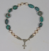 Smooth Turquoise Nugget and Freshwater Pearls with Inlaid Turquoise and Coral Tibetan Beads