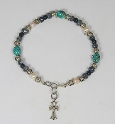Smooth Turquoise Nugget with Gray and Black Glass Beads and Freshwater Pearls