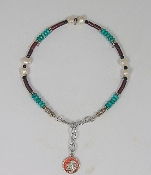 Turquoise Heche with Freshwater Pearls and Tubular Garnet-Colored Beads