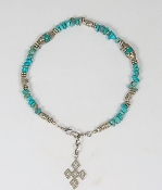 Turquoise Nugget with Silver and Turquoise Oval Tibetan Beads